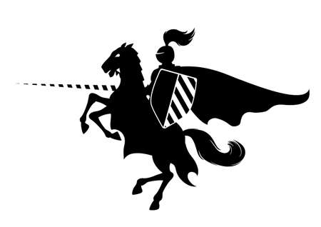 Silhouette of medieval knight on the horse, illustration can be scale to any size