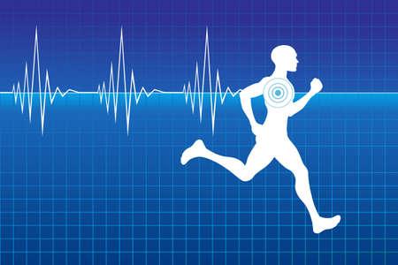 pulso: Ejecutando atleta en monitor con una l�nea de latidos del coraz�n. ilustraci�n puede ser escala a cualquier tama�o y f�cil de editar.