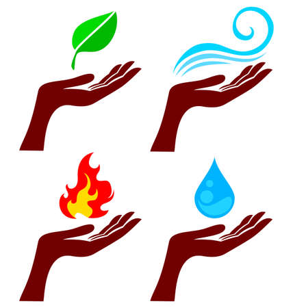 the four elements: Hand with four nature element: tree leaf, fire, water and wind