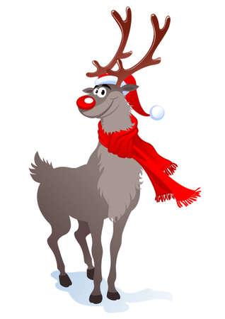 Cartoon lachende rendieren in Kerst muts. illustratie kunnen schaal op elke grootte.