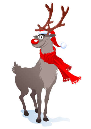 Cartoon smiling reindeer in santa hat.   illustration can be scale to any size.