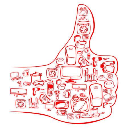 Many home appliances in OK hands shape. Vector illustration can be scale to any size.