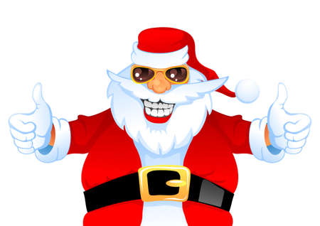 Carton Smiling Santa Claus shows thumbs up, isolated on white