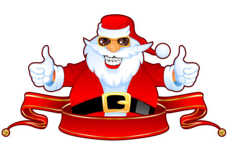 Cheerful Santa Claus in Sunglasses over Red Christmas Ribbon Illustration
