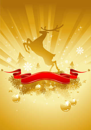 gold shining chritmas card with reindeer and red banner
