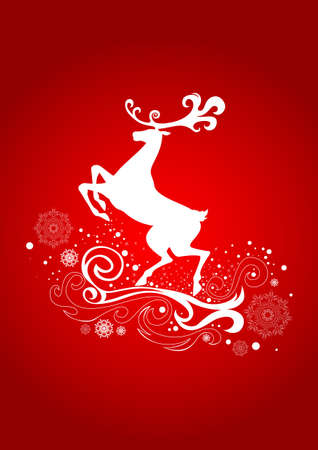 Graceful Reindeer on the Red Background.  illustration can be scale to any size. Vector