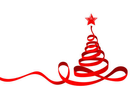 Stylish Chritmas Tree with Red Star.   illustration can be scale to any size.