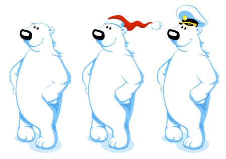 Three Happy Polar Bears with Santas and Captains hat Illustration