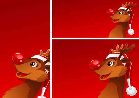 placecard: Three blank red banners with young happy reindeer