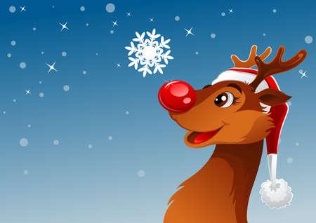 renos de navidad: Reno joven estaba estudiando hermoso de copo de nieve