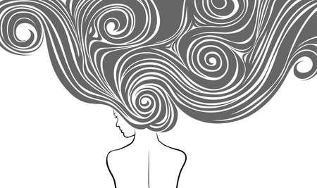 peluquerias: Mujer con mucho tiempo y pelos de stilysh Vectores