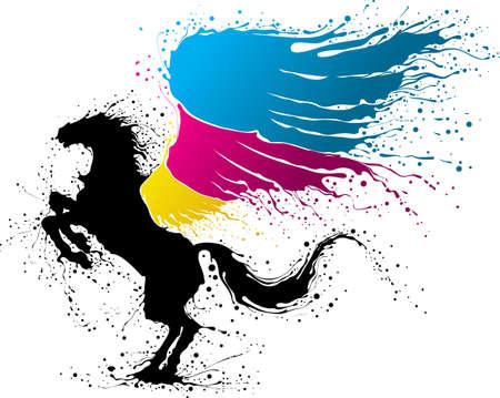 pegaso: Pegasus negro con ala en colores de CMYK Vectores