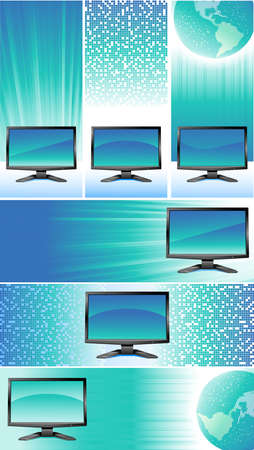 Vertical and horizontal blue banners with modern monitors Stock Vector - 8665666