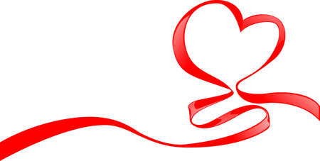 ribbon heart: Red ribbon with hearts shape for Valentines day
