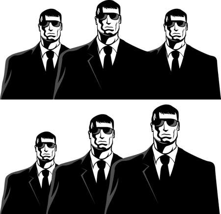 bodyguard: Three men in black suits. The secret service or mafia.