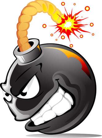 ¡Bomba de dibujos animados muy malvada lista para explotar!