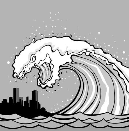 overflows: Huge wave of tsunami overflows coast. City in danger!