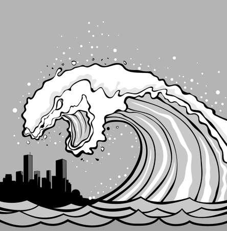 tsunami wave: Huge wave of tsunami overflows coast. City in danger!