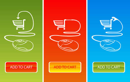 Three color banners with shopping cart symbol Illustration