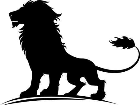 Vector illustration d'une silhouette d'un lion fière