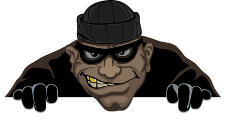 Notte un ladro con una maschera si prepara a rubare Vettoriali
