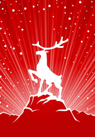 Large reindeer stay on rock, winter background with snow Vector