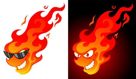 brandweer cartoon: Lachende cartoon vuur met op een witte en donkere achtergrond Stock Illustratie