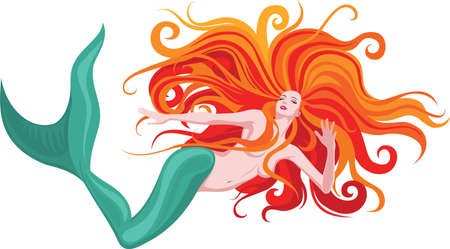 Vector illustration of beautiful red-haired mermaid 矢量图像