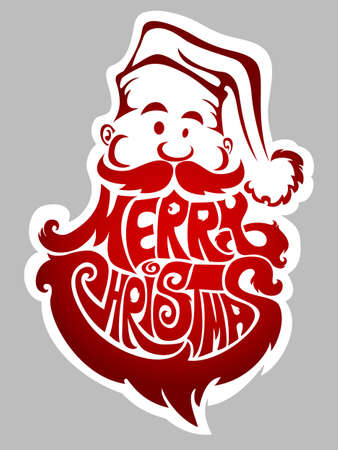 word art: Merry Christmas - new years label with Santa Claus