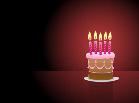 Birthday Cake with 5 candles Vector