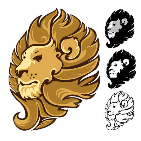 royals: Lion head symbols, emblem or design template. Vector illustration.