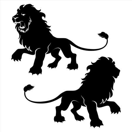 royal safari: Lion figure symbols, emblem or design template. Vector illustration. Illustration