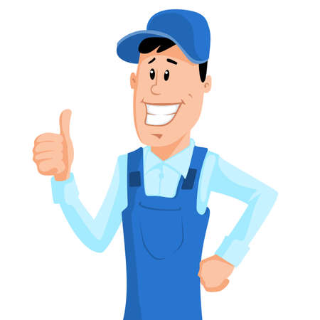 Cute cartoon worker in blue workwear show thumb up. Vector illustration.
