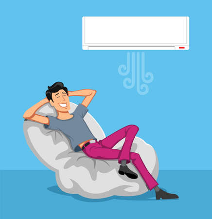 Happy Man Relax in the breeze from Air-conditioner si on sofa. Vector illustration.