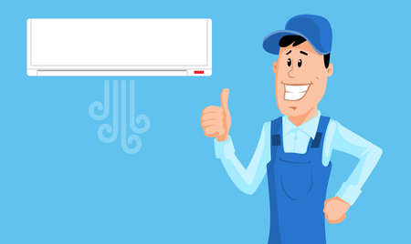 man in air: The worker set the air conditioner and show thumb up. Vector illustration.