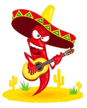incendiary: Mexican hot chili pepper incendiary plays guitar