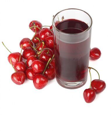 Cherry nectar and cherries isolated on white background  Stock Photo