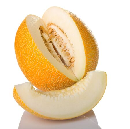 Sliced melon on white background photo