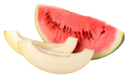 slices of watermelon and melon isolated on white Stock Photo