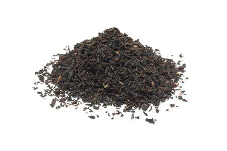 Black tea isolated on white background