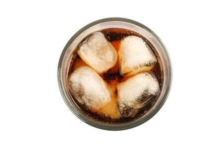 Cola with ice isolated on background Stock Photo