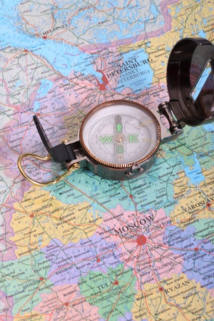 engineer directional compass on map  Stock Photo