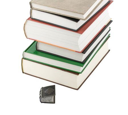 pile of books and smal book isolated on white background Stock Photo