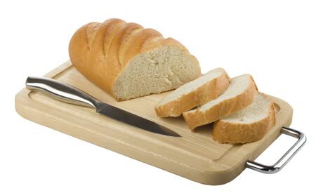 sliced long loaf and a knife on a cutting board isolated on white Stock Photo - 10503538
