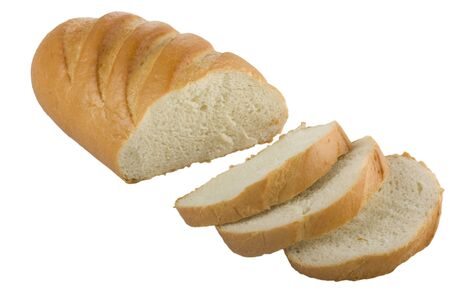 Long loaf sliced bread isolated on white