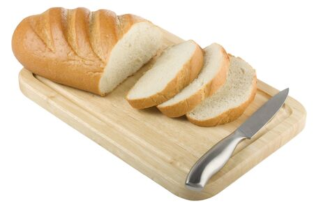 sliced loaf of bread on the cutting board isolated on white Stock Photo - 10503547