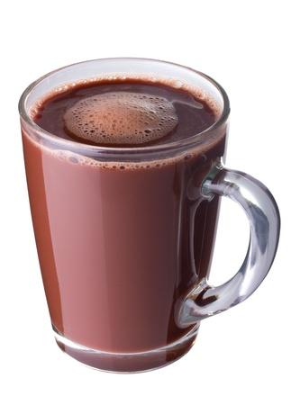 ココア: 白で隔離されるガラス カップのホット チョコレート