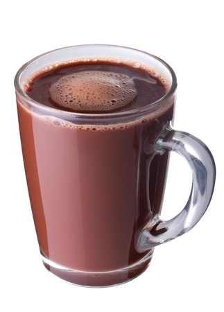 cacao: Chocolate caliente en un recipiente de vidrio aislado en blanco Foto de archivo
