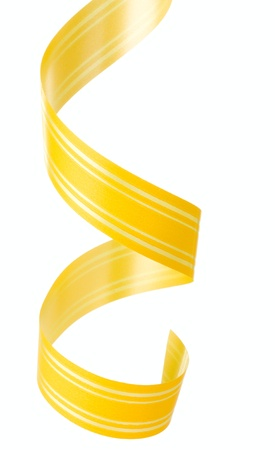 Curly yellow ribbon hanging isolated on white background Stock Photo