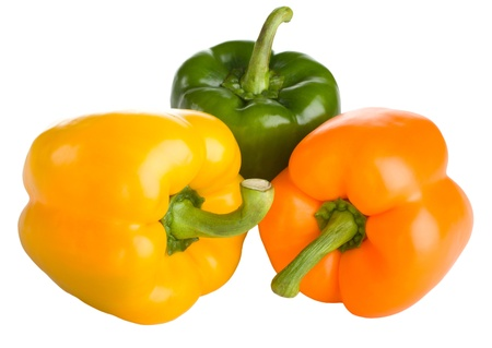yellow, orange and green bell peppers isolated on white background Stock Photo